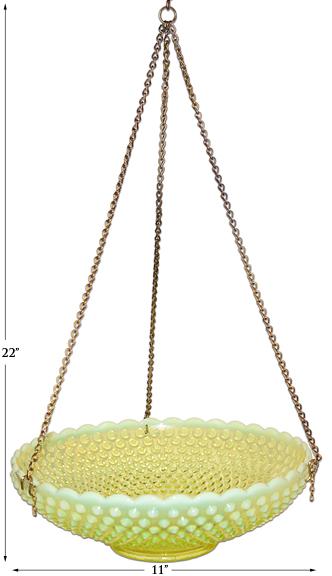 Fenton Topaz Opalescent Hobnail Hanging Basket