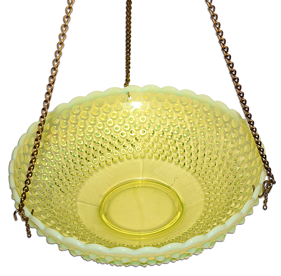 Fenton Topaz Opalescent Hobnail Hanging Bowl AV