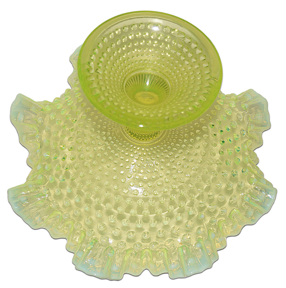 Fenton Topaz Hobnail Large Footed Bowl Bottom