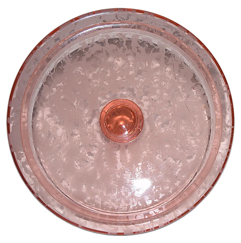 Fenton Ming Macaroon / Cookie Jar Pink Satin Lid