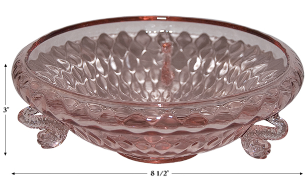 Fenton Diamond Optic Dolphin Cupped Bowl