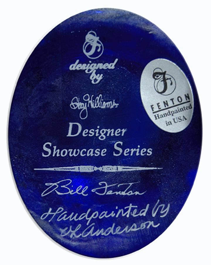 Fenton QVC Cobalt Designer Series Bill Fenton Jug Signature