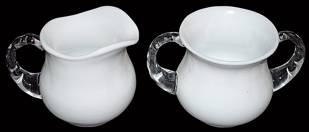 Fenton Silver Crest Sugar and Creamer Set Looking Down