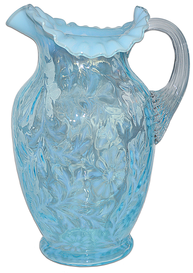 Fenton Daisy and Fern Blue Opalescent Pitcher AV