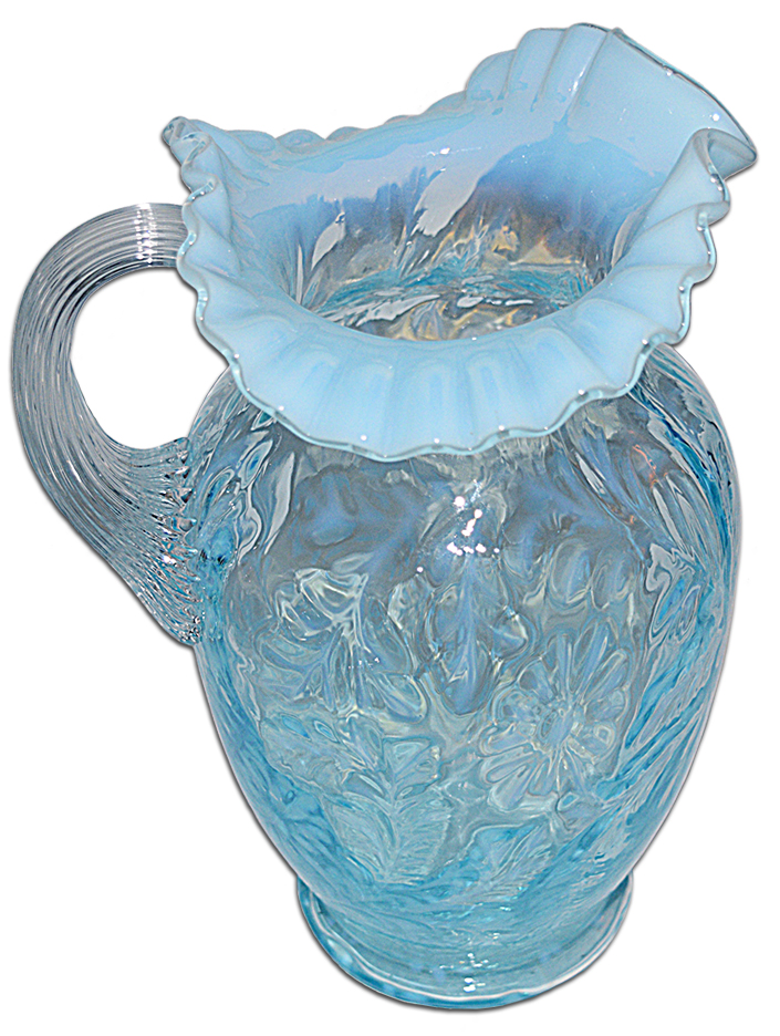 Fenton Daisy and Fern Blue Opalescent Pitcher
