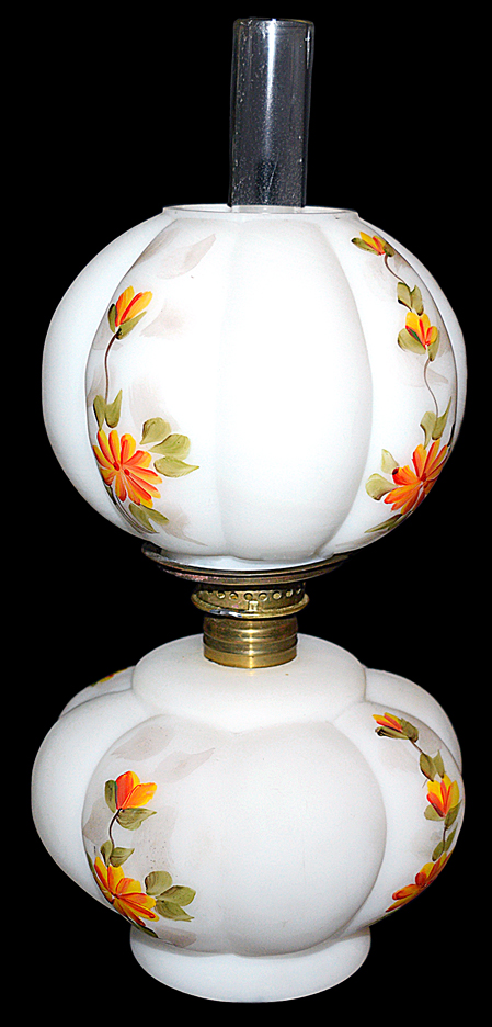Fenton / Wright Miniature Lamp with Butter Cup Hand Paintin TOSg