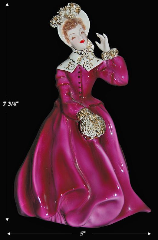Florence Ceramics Clarissa Figure in Maroon Dress