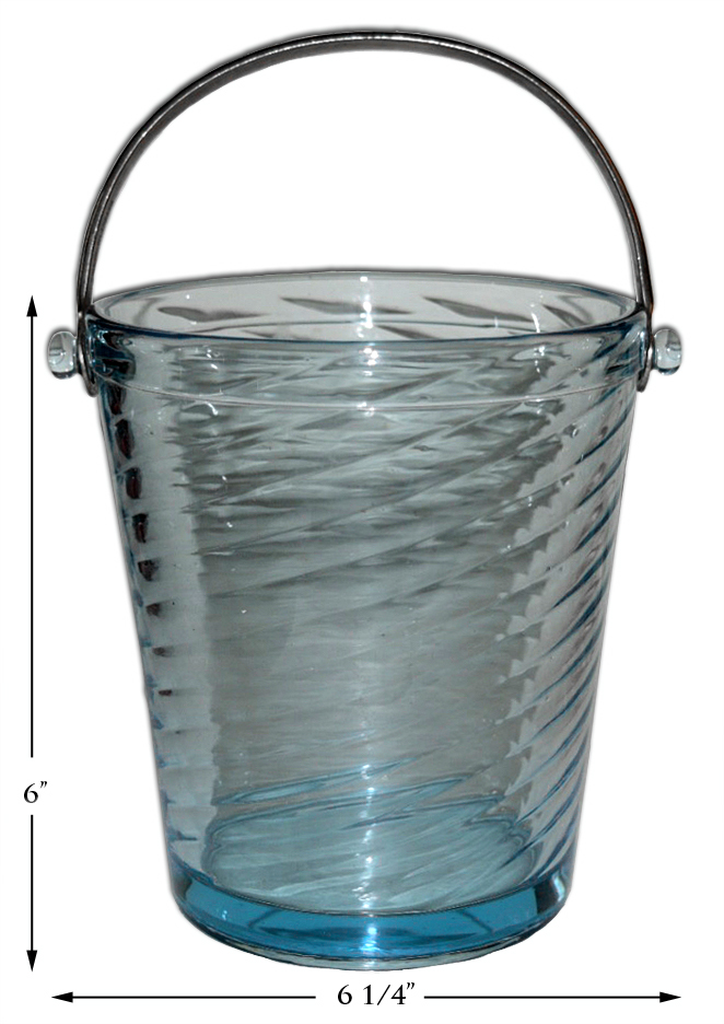 Fostoria Azure Blue Ice Bucket Pail with Metal Handle
