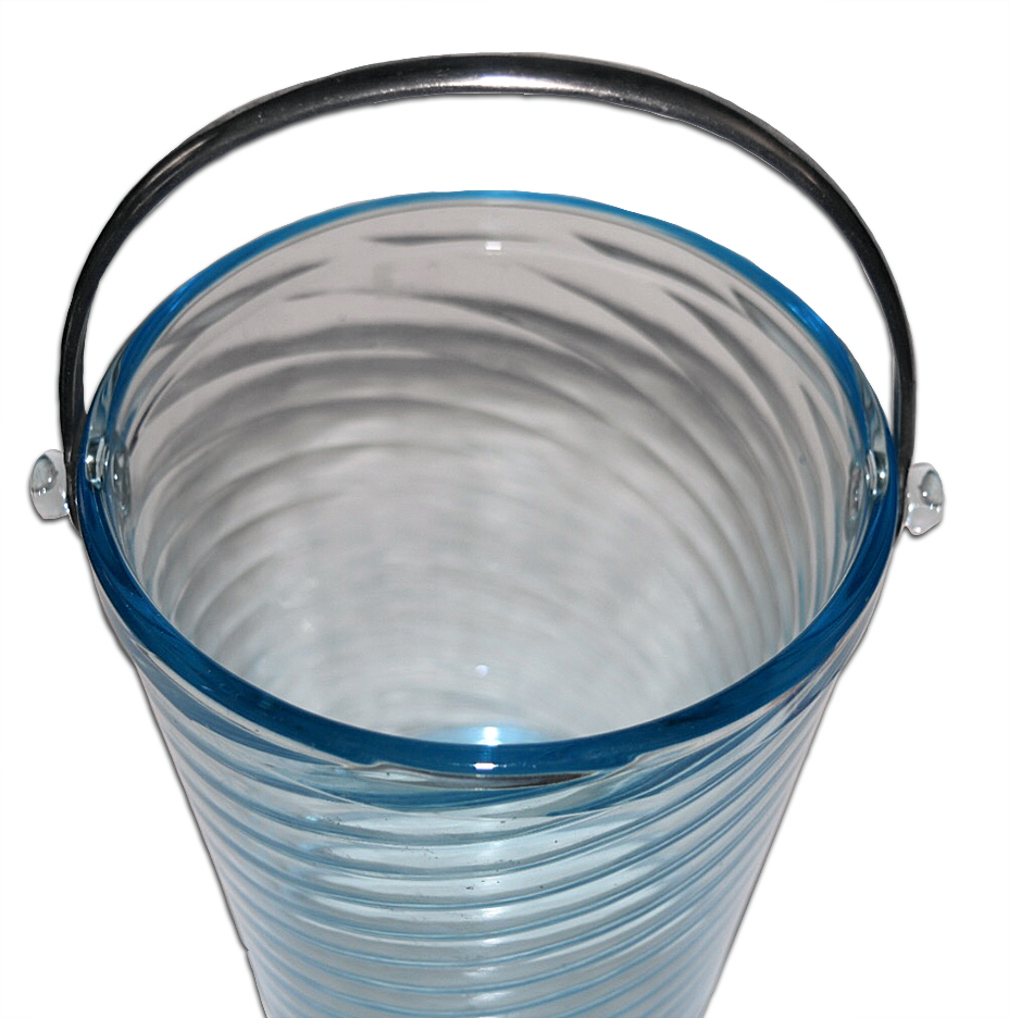 Fostoria Azure Blue Ice Bucket Pail with Metal Handle Looking Down