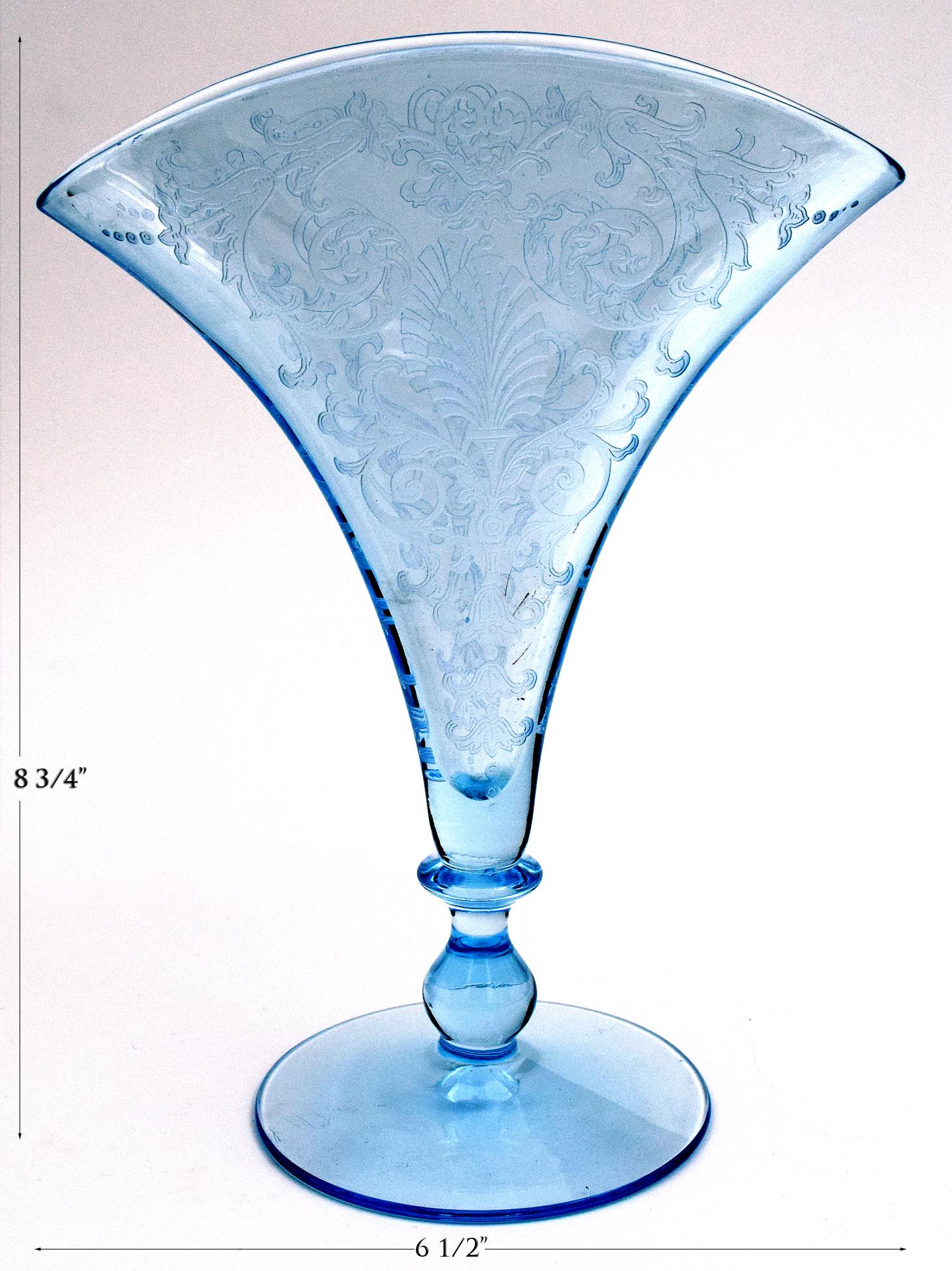 Fostoria Versailles Blue Fan Vase