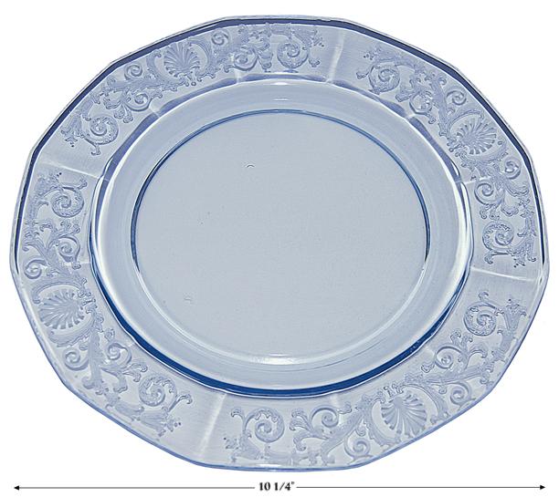 Fostoria Blue Large Versailles Dinner Plate