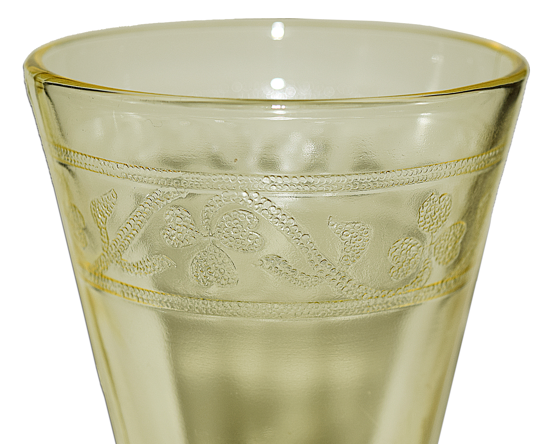 Hazel Atlas Cloverleaf Footed Ice Tea Tumbler Pattern Close Up