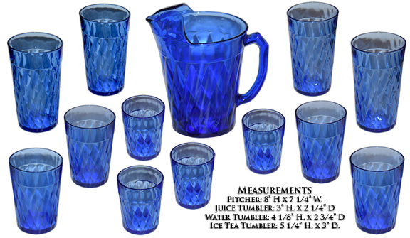 Hazel Atlas Diamond Optic Pitcher and Tumblers