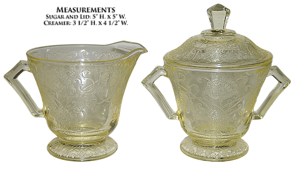 Florentine Hazel Atlas Yellow Sugar/ Creamer and Lid