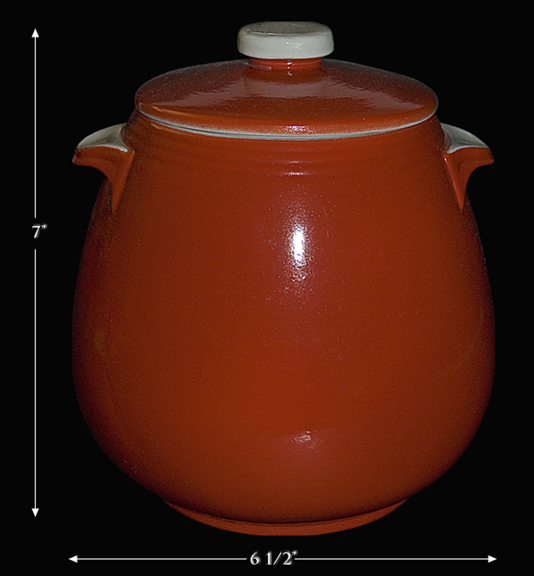 Hall Chinese Red Tab Handled Bean Pot
