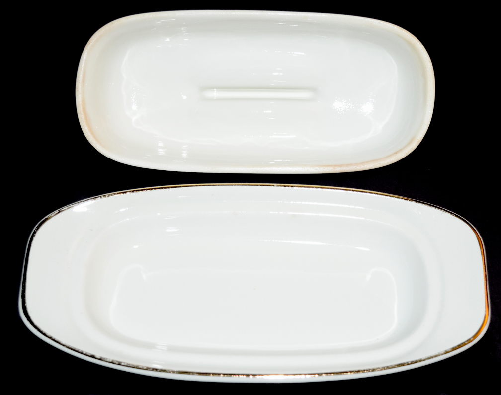 HALL CHINA RX BUTTER DISH APART