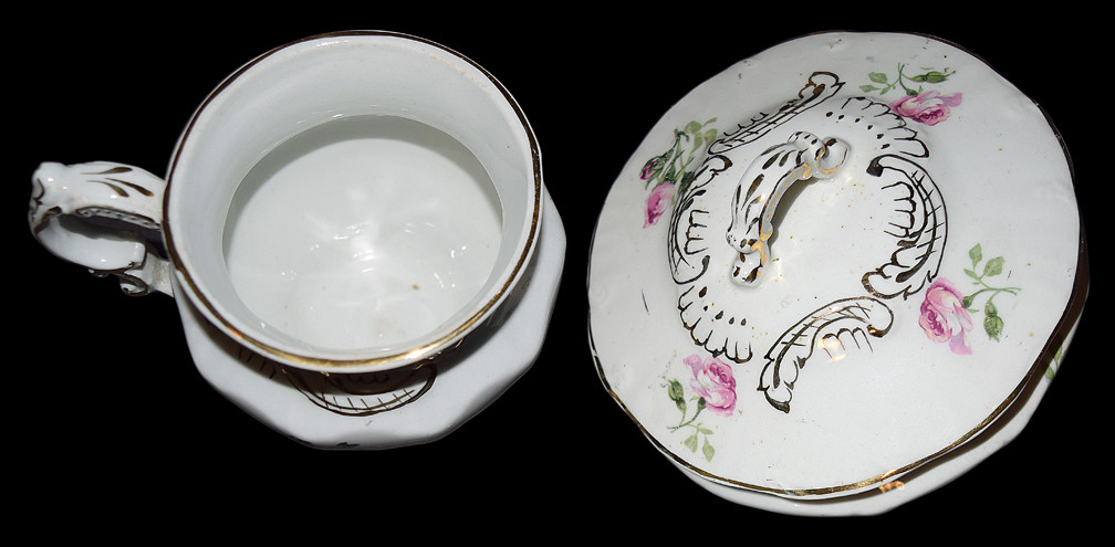 Hall / East Liverpool Soap Dish and Shaving Mug Anothr View