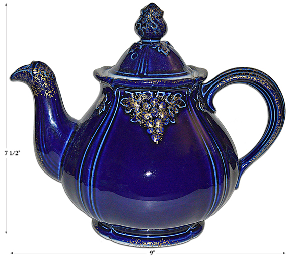 Hall Cobalt Thorley Grape Hall Teapot with Gold