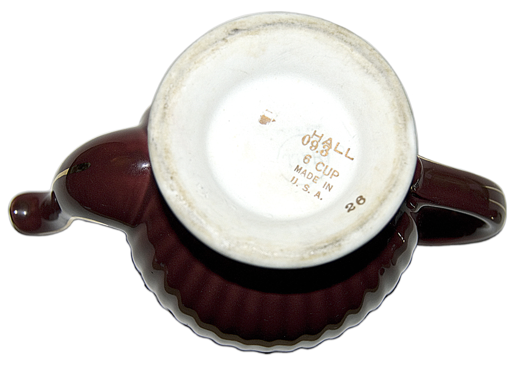 Hall Los Angeles Maroon and Gold Teapot Bottom