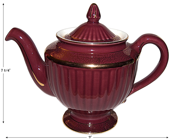 Hall Maroon and Gold Los Angeles Teapot