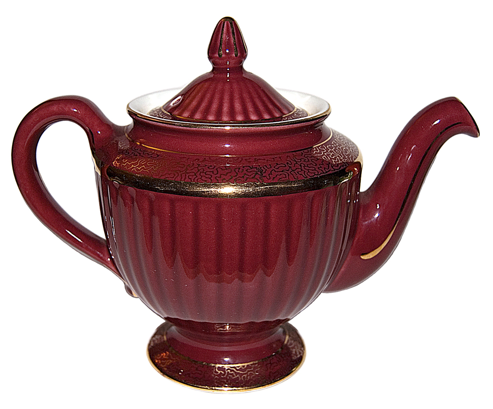 Hall Los Angeles Maroon and Gold Teapot