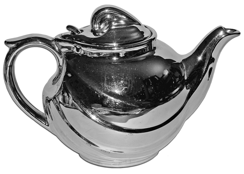 Hall China Silver Parade Teapot The Other Side