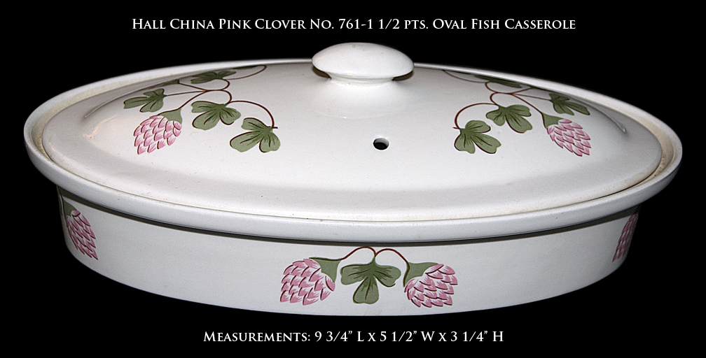 Hall Pink Clover Oval Fish Casserole