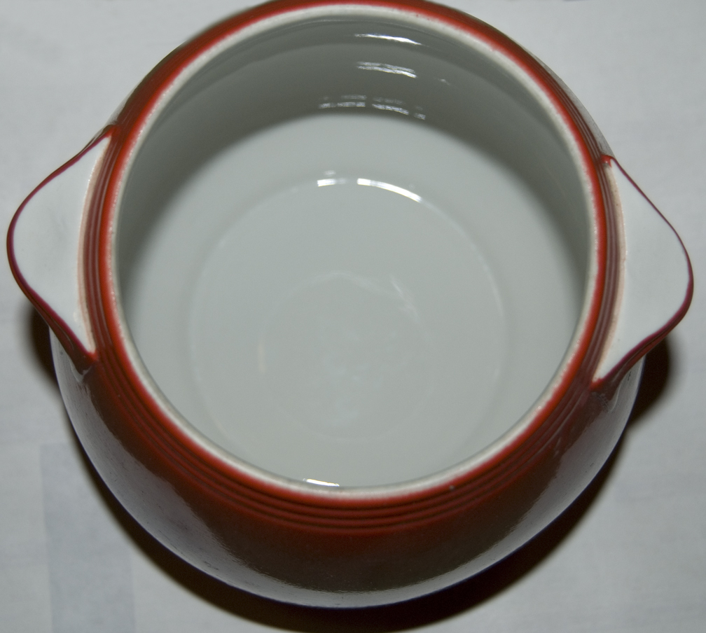 Hall Chinese Red Tab Handled Bean Pot Bottom