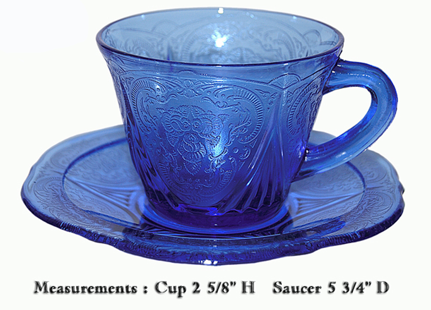 Hazel Atlas Cobalt Royal Lace Cup and Saucer