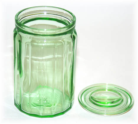 "Hazel Atlas Ribbed Small 4 1/2""Canister with Lid Off"