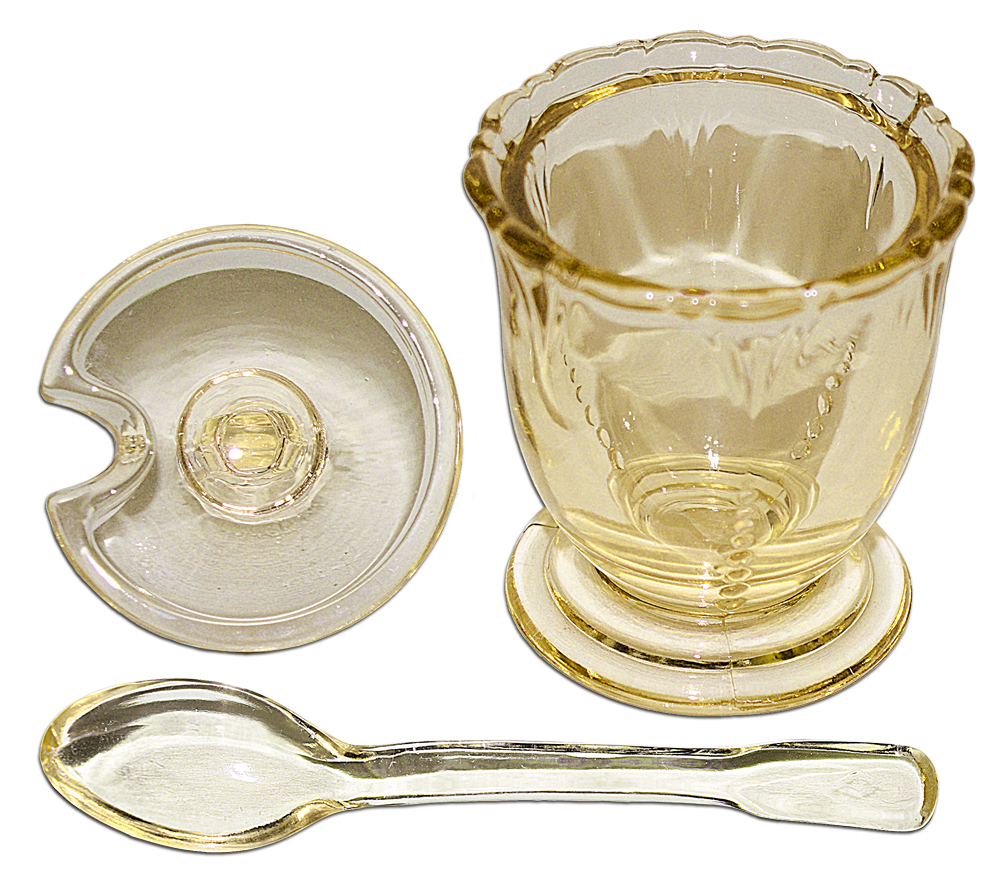 Heisey Empress Sahara Mustard with Original Spoon Apart