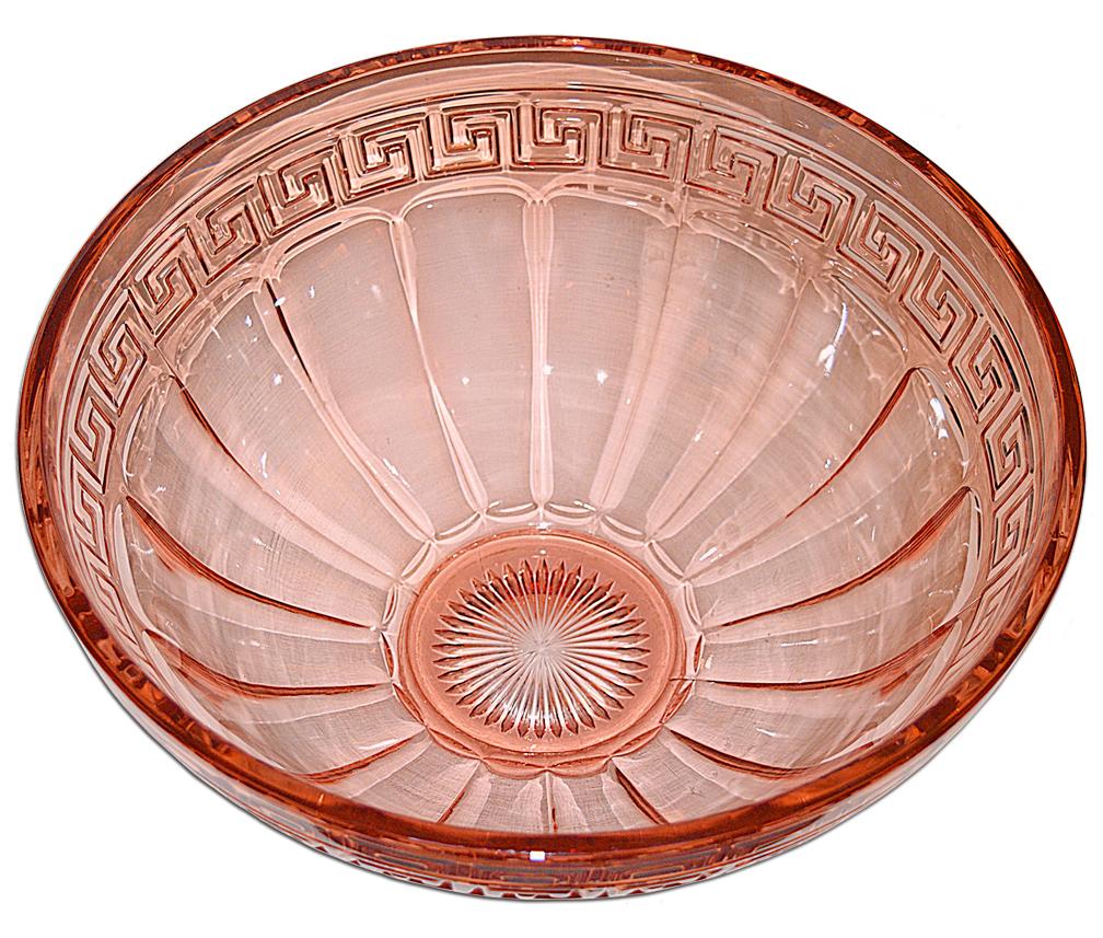 Heisey Greek Key Flamingo Punch Bowl Inside