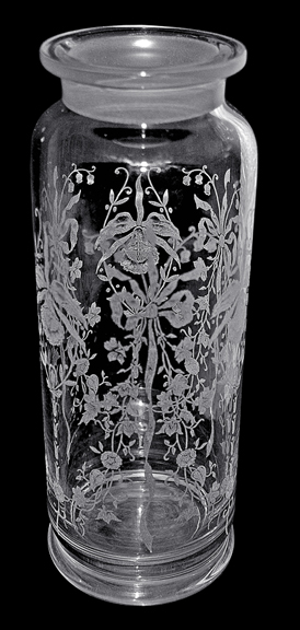 Heisey Orchid Rooster Cocktail Shaker Bottom