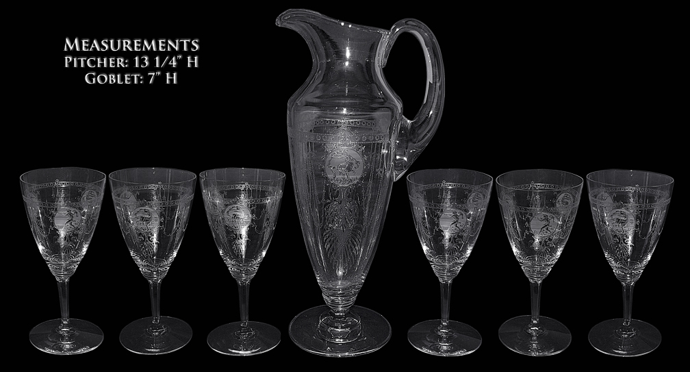 Heisey Pied Piper Pitcher / Jug and Goblets