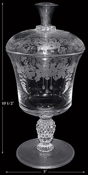 Heisey Plantation Urn / Candy with Sterling Knob