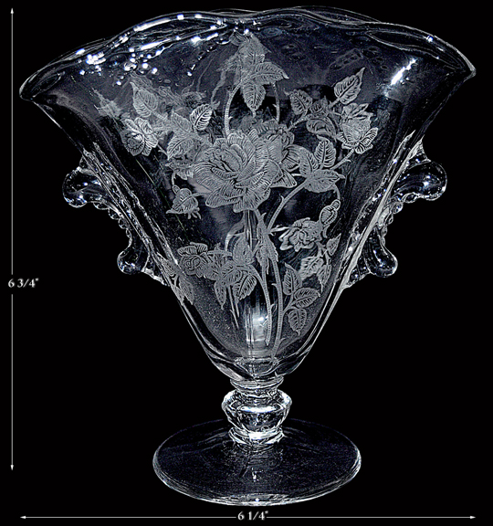 Heisey Rose Fan Vase