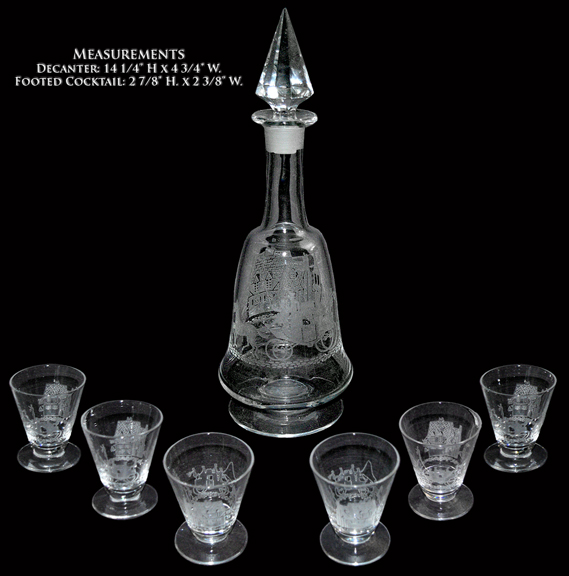 Heisey Crystal Tally Ho Decanter and Footed Cocktails