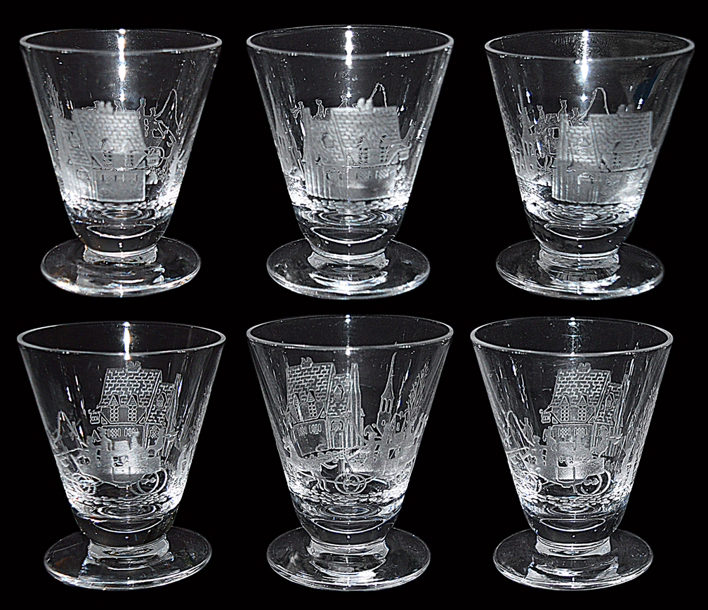 Heisey Tally Ho Footed Cocktail Tumblers