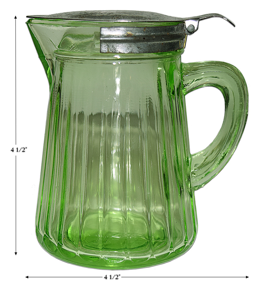 Hocking Green Ribbed Syrup Jug/ Pitcher