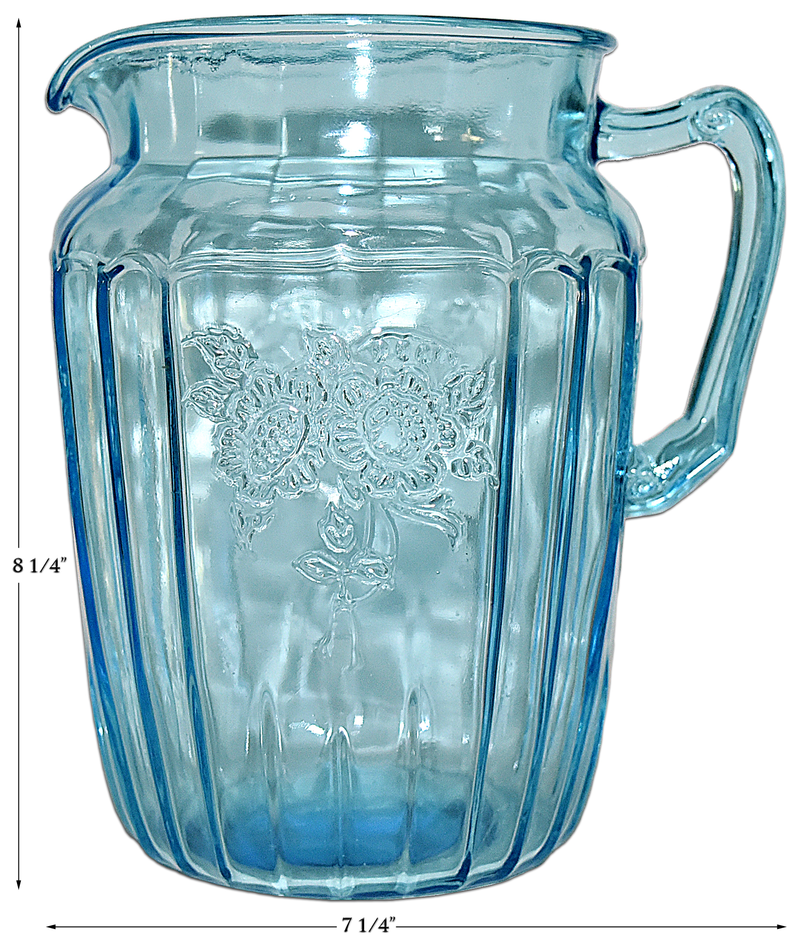 Hocking Blue Mayfair Large Pitcher / Jug