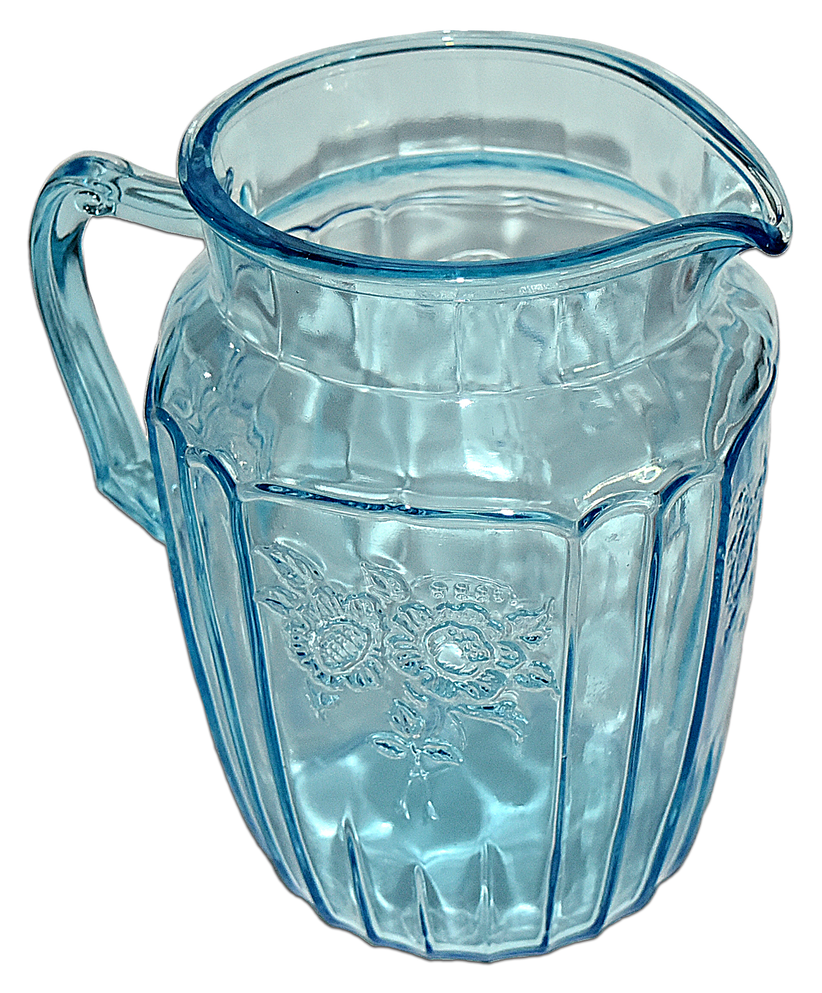 Hocking Blue Mayfair Large Pitcher / Jug The Other Side