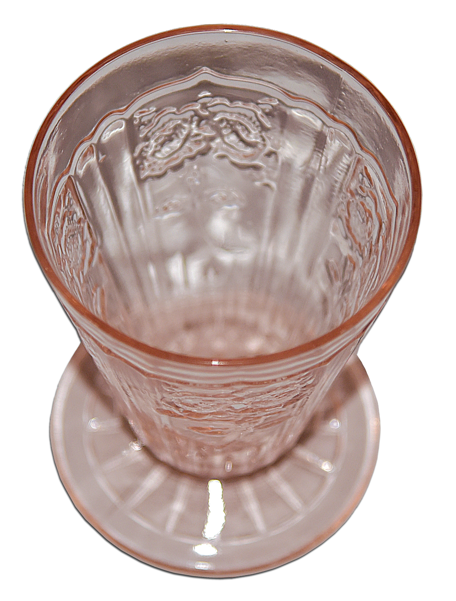 Hocking Pink Mayfair Footed Juice Tumbler Looking Down