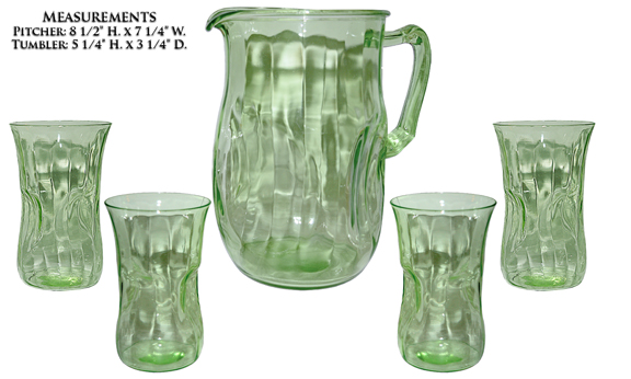 Hocking Green Pinch Pitcher and Tumblers