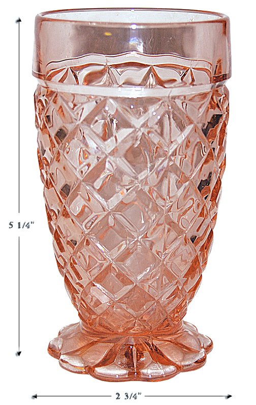 Hocking Pink Waterford Footed Tumbler