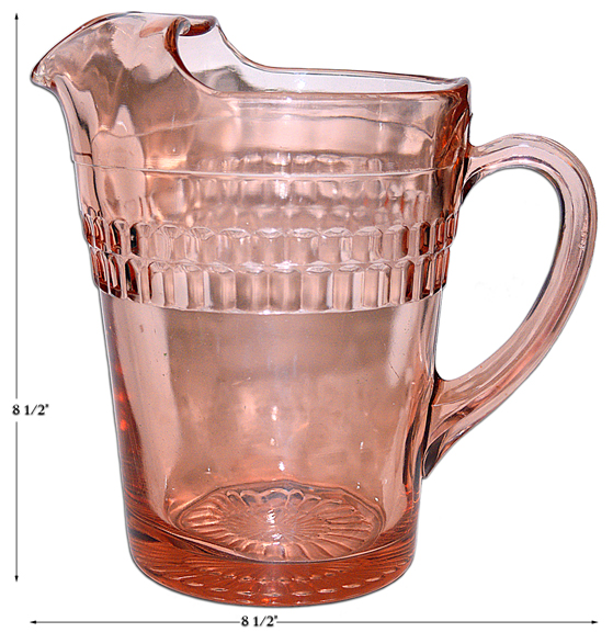 Hocking Pink Roulette Ice Lip Pitcher / Jug