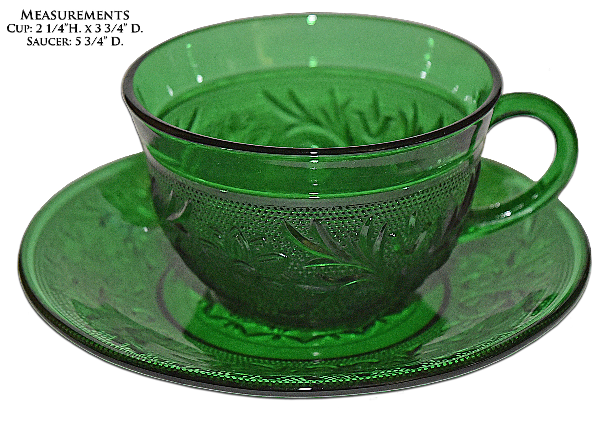 Hocking Green Sandwich Cup and Saucer