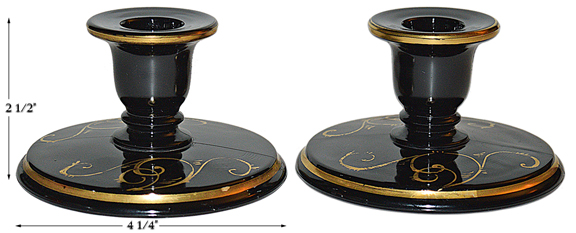 Imperial Black and Gold Candlesticks
