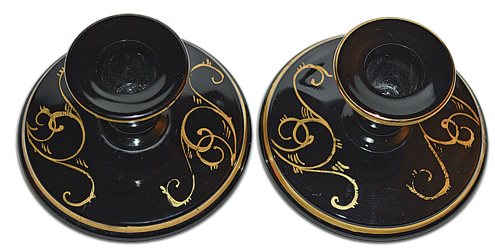 Imperial Black and Gold Candlesticks Looking Down