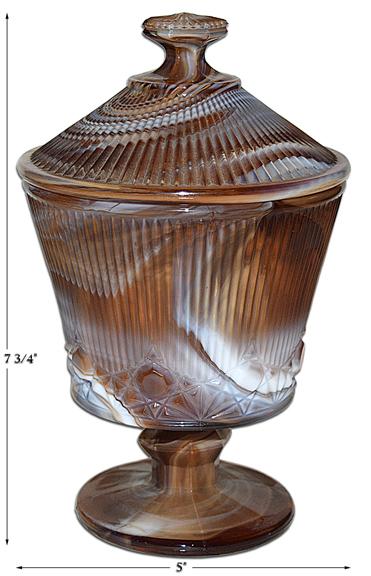 Imperial Slag Wiskbroom Footed Jar / Candy