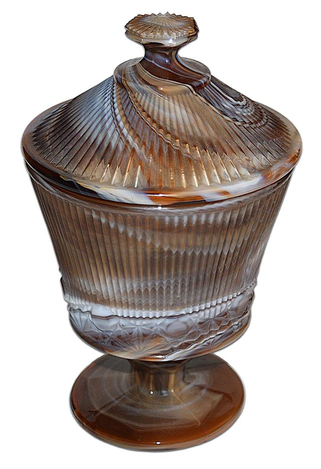 Imperial Slag Wiskbroom Footed Jar / Candy Looking Down